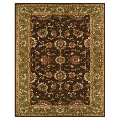 Barns Dark Brown/Green Area Rug Rug Size: 36 x 56