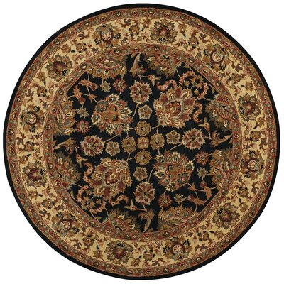 Baskett Black/Brown Area Rug Rug Size: Round 8