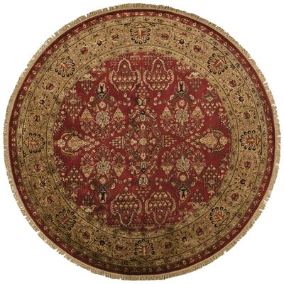 Barcroft Red/Light Gold Area Rug Rug Size: Round 8