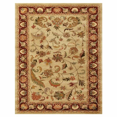 Baskett Ivory/Red Area Rug Rug Size: Rectangle 5 x 8