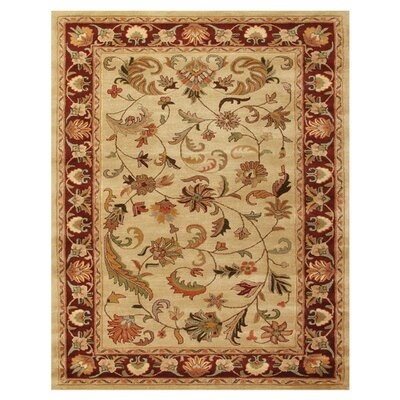 Baskett Ivory/Red Area Rug Rug Size: 36 x 56