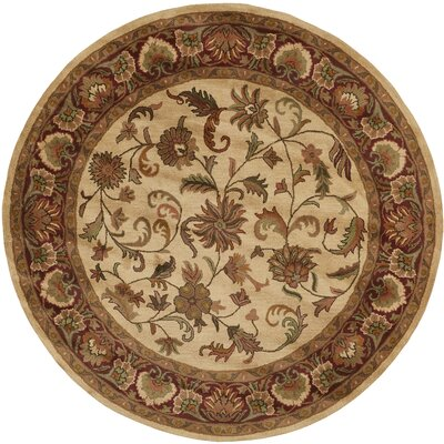 Baskett Ivory/Red Area Rug Rug Size: Round 8