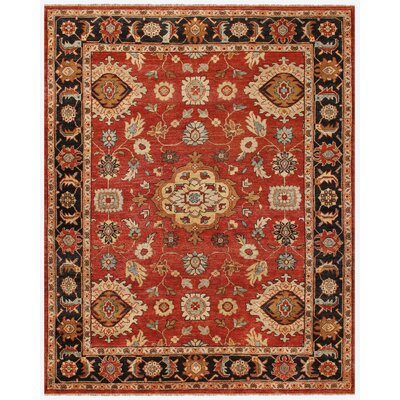 Barter Red Area Rug Rug Size: 5'6