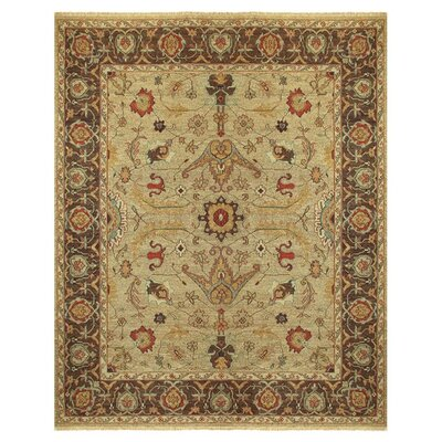 Barney Brown/Tan Floral Area Rug Rug Size: 5'6