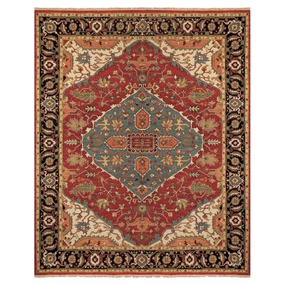 Barney Floral Handmade Red/Brown Area Rug Rug Size: Rectangle 36 x 56