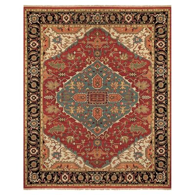 Barney Red Floral Area Rug Rug Size: 2' x 3'