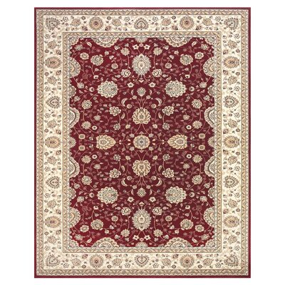 Barden Red / Cream Rug Rug Size: 91 x 132