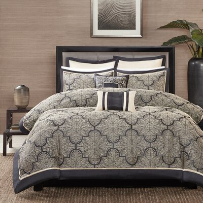 Baynard Comforter Set Size: Queen, Color: Black