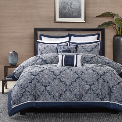Baynard Comforter Set Size: California King, Color: Navy