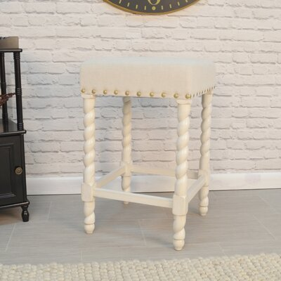 Causey Park 25 Bar Stool with Cushion Upholstery: Vintage White