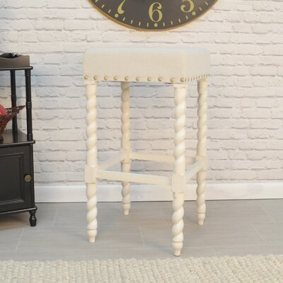 Causey Park 30 Bar Stool with Cushion Upholstery: Vintage White