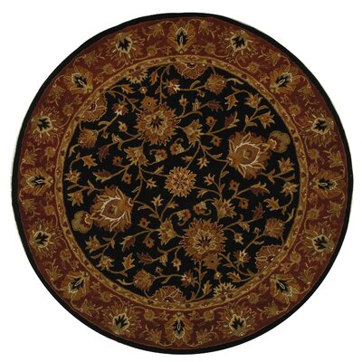 Balthrop Black/Red Area Rug Rug Size: Round 5