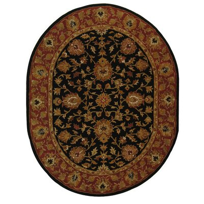 Balthrop Black/Red Area Rug Rug Size: Oval 76 x 96