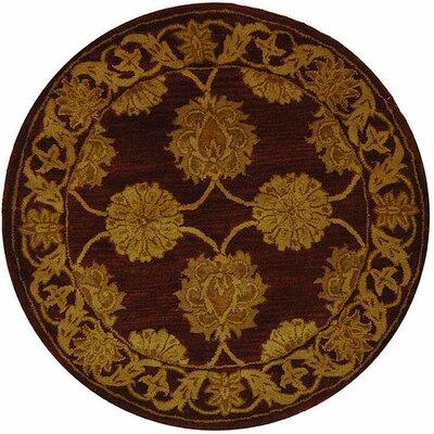 Balthrop Gold Maroon Area Rug Rug Size: Round 36