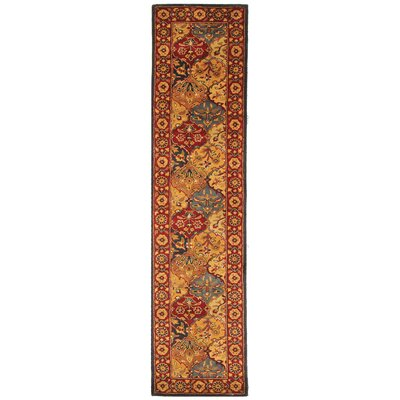 Balthrop Handmade Wool Red/Gold Area Rug Rug Size: Runner 23 x 10