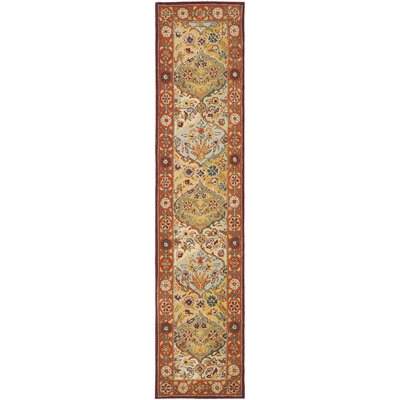 Balthrop Red Wool Hand Tufted Area Rug Rug Size: Runner 23 x 12