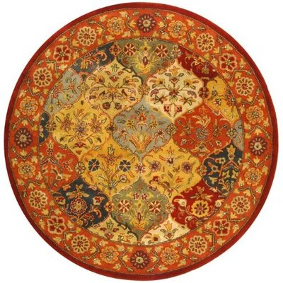 Balthrop Red Wool Hand Tufted Area Rug Rug Size: Round 6