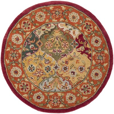 Balthrop Red Wool Hand Tufted Area Rug Rug Size: Round 36