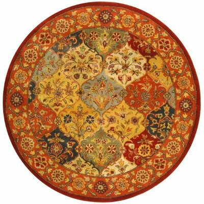 Balthrop Multi/Red Area Rug Rug Size: Round 5'