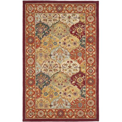Balthrop Red Wool Hand Tufted Area Rug Rug Size: 5 x 8