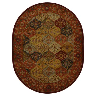 Balthrop Red Wool Hand Tufted Area Rug Rug Size: Oval 46 x 66