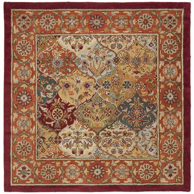 Balthrop Red Wool Hand Tufted Area Rug Rug Size: Square 6