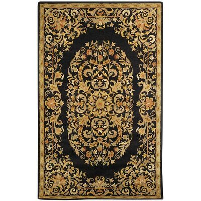 Balthrop Black/Gold Area Rug Rug Size: Round 8