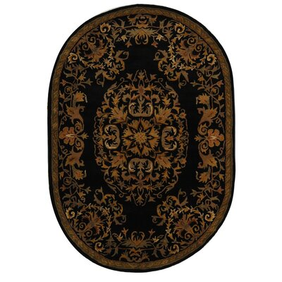 Balthrop Black/Gold Area Rug Rug Size: Round 6