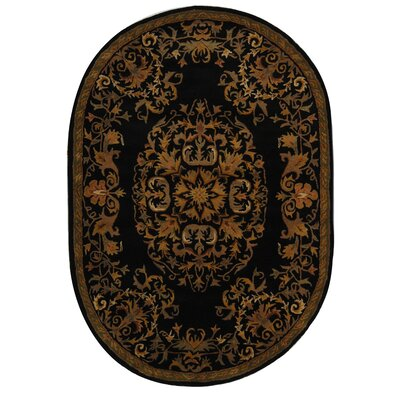 Balthrop Black/Gold Area Rug Rug Size: Oval 7'6