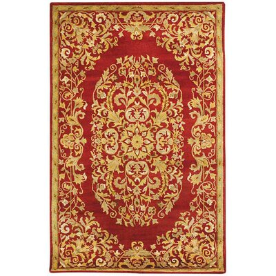 Balthrop Red/Yellow Floral Area Rug Rug Size: Round 6