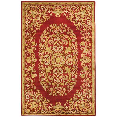 Balthrop Red/Yellow Floral Area Rug Rug Size: 5 x 8