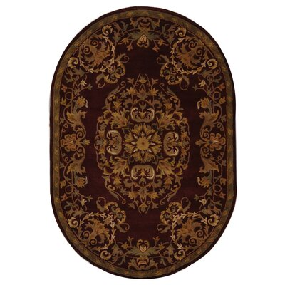 Balthrop Red/Yellow Floral Area Rug Rug Size: Oval 46 x 66
