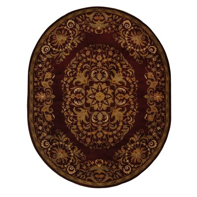 Balthrop Red/Yellow Floral Area Rug Rug Size: Oval 76 x 96