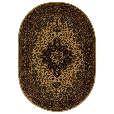 Balthrop Ivory/Red Area Rug Rug Size: Oval 46 x 66