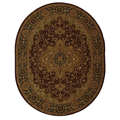 Balthrop Red/Black Area Rug Rug Size: Oval 4'6