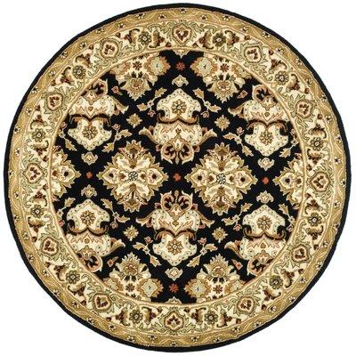 Balthrop Black/Ivory Area Rug Rug Size: Round 6