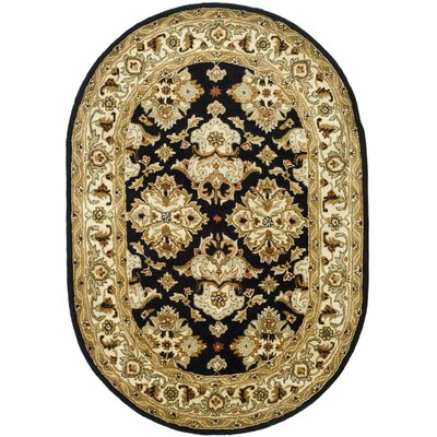 Balthrop Black/Ivory Area Rug Rug Size: Oval 76 x 96