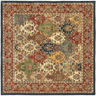 Balthrop Multi/Red Area Rug Rug Size: Square 6'