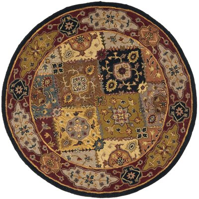 Balthrop Yellow/Red Rug Rug Size: Round 8