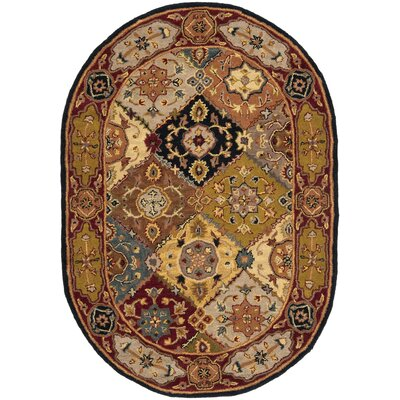 Balthrop Hand-Tufted Red Rug Rug Size: Oval 46 x 66