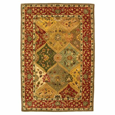 Balthrop Red/Yellow Floral Area Rug Rug Size: Square 6