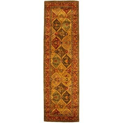 Balthrop Red/Yellow Floral Area Rug Rug Size: Runner 23 x 16