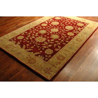 Balthrop Red/Gold Floral Area Rug Rug Size: Rectangle 76 x 96