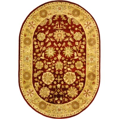 Balthrop Red/Gold Floral Area Rug Rug Size: Oval 7'6