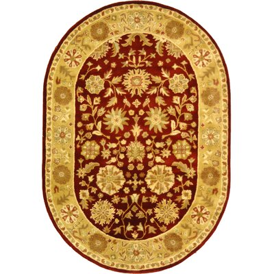 Balthrop Red/Gold Floral Area Rug Rug Size: Oval 46 x 66