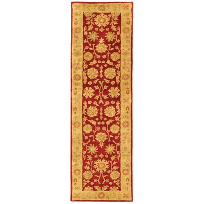 Balthrop Red/Gold Floral Area Rug Rug Size: Runner 23 x 8