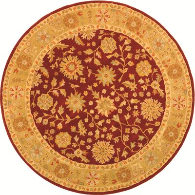 Balthrop Red/Gold Floral Area Rug Rug Size: Round 8