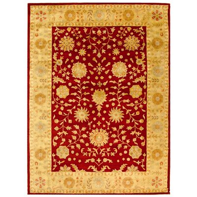 Balthrop Red/Gold Floral Area Rug Rug Size: 3' x 5'