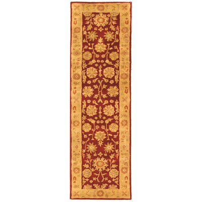 Balthrop Red/Gold Floral Area Rug Rug Size: Runner 23 x 12