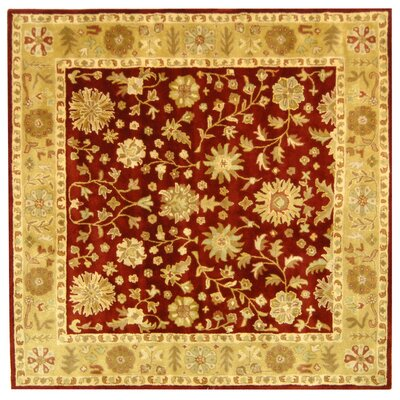 Balthrop Red/Gold Floral Area Rug Rug Size: Square 8